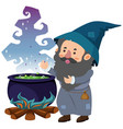 wizard and magic brew on white background vector image vector image