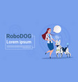woman playing with robotic dog cute domestic vector image