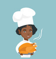 young african chief cook holding roasted chicken vector image