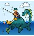 Fisherman and dinosaur vector image