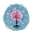 Abstract pink tree with roots for your design vector image vector image