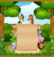 animals with blank sign at forest vector image vector image