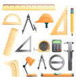 architect equipment icons set cartoon style vector image
