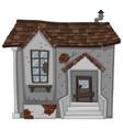 brick house with broken door and window vector image vector image