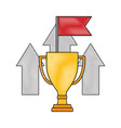business trophy flag up arrows win success color vector image vector image