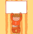 cartoon boy holding empty sign vector image vector image