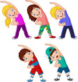 cartoon little kids exercising on white background vector image vector image
