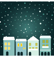 Christmas town on snowing background vector image vector image