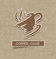 Coffee cup sticker on brown paper vector image