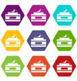 cream container icon set color hexahedron vector image vector image
