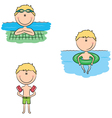 Cute swimmer boys in different situations vector image vector image