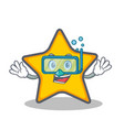 diving star character cartoon style vector image vector image