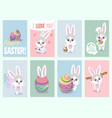 easter rabbit cards baby rabbits cute and color vector image vector image