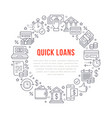 finance money loan circle template flat line vector image vector image