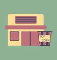 flat icon building cinema popcorn vector image vector image
