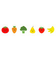 fruit berry vegetable smiling face icon set line vector image vector image