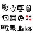 Gambling online betting casino icons set vector image