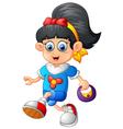 girl holding bag cartoon vector image vector image