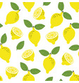 hand drawn seamless pattern with yellow lemon vector image