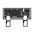 hands in keyboard vector image