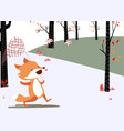 happy fox catch the butterfly in the forest vector image