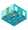 isometric individual training concept vector image vector image