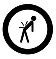 man a with sick back backache black icon in vector image vector image