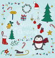 merry christmas with set christmas lettering vector image