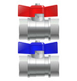 metal chrome pipe connectors water taps vector image
