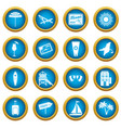miami icons blue circle set vector image vector image