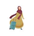 muslim woman walking with suitcase modern arab vector image vector image