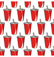 pattern with red soda cup with straw vector image vector image