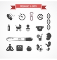 Pregnancy and birth icon set vector image
