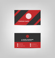 red and black business card design template vector image vector image