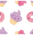 Seamless pattern with sweets - donuts cupcakes