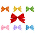 set colorful bows isolated on white background vector image vector image