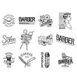 set of barbershop badge and label logo and vector image