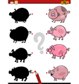 shadows task with pig vector image vector image