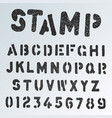 stamp alphabet font template grunge letters and vector image