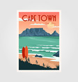 table mountain view in cape town vintage poster vector image