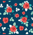 vintage red roses and leaves on navy blue vector image vector image