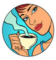 woman with a cup morning coffee or tea vector image vector image
