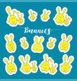 collection of rabbits stickers in cartoon vector image