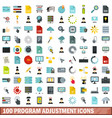 100 program adjustment icons set flat style vector image vector image