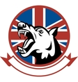 Angry Trained guard dog with british flag vector image
