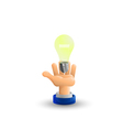 Arm Business hand Light bulb Idea Palm up 3D icon vector image vector image
