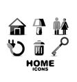 Black glossy home icons vector image