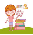 boy with education books to day celebration vector image vector image