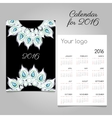 Calendar 2016 with white feathers and diamonds vector image vector image