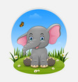 cartoon happy elephant sitting on the grass vector image vector image
